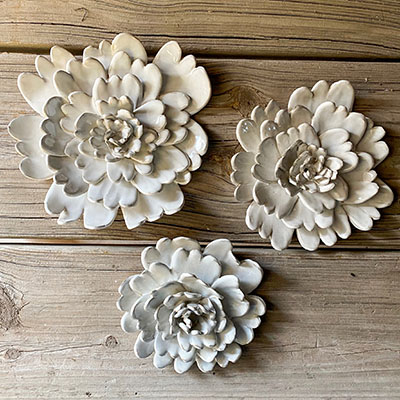hand-crafted ceramic wallflowers